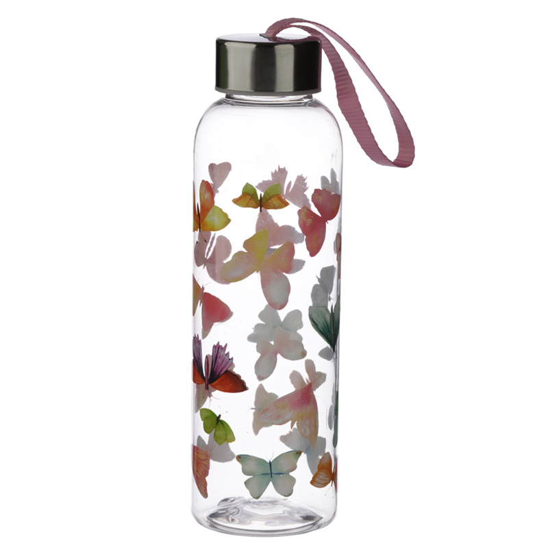Butterfly House 500ml Reusable Water Bottle with Metallic Lid