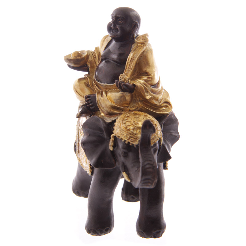 Decorative Gold and Brown Chinese Buddha Riding Elephant