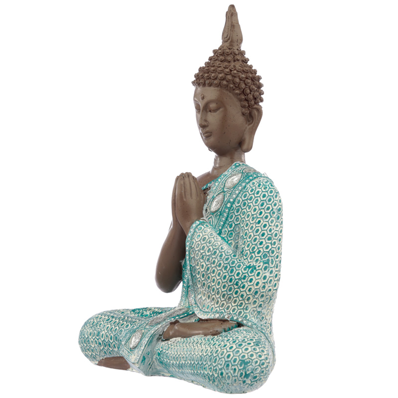 Decorative Turquoise & Brown Buddha Figurine - Meditating