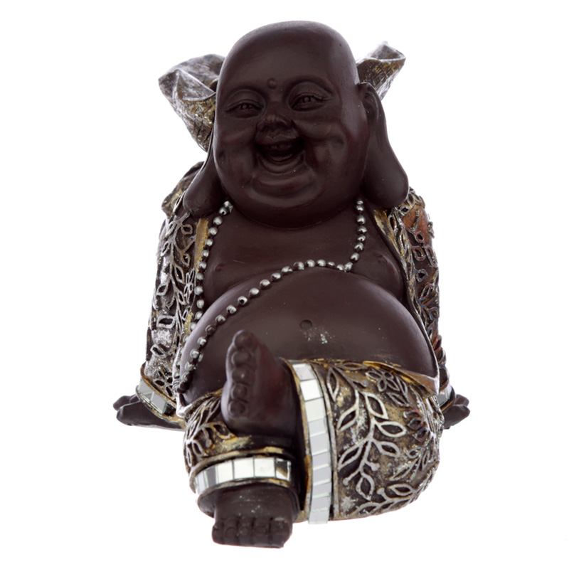 Decorative Laughing Brown and Gold Chinese Buddha Tea Light Holder