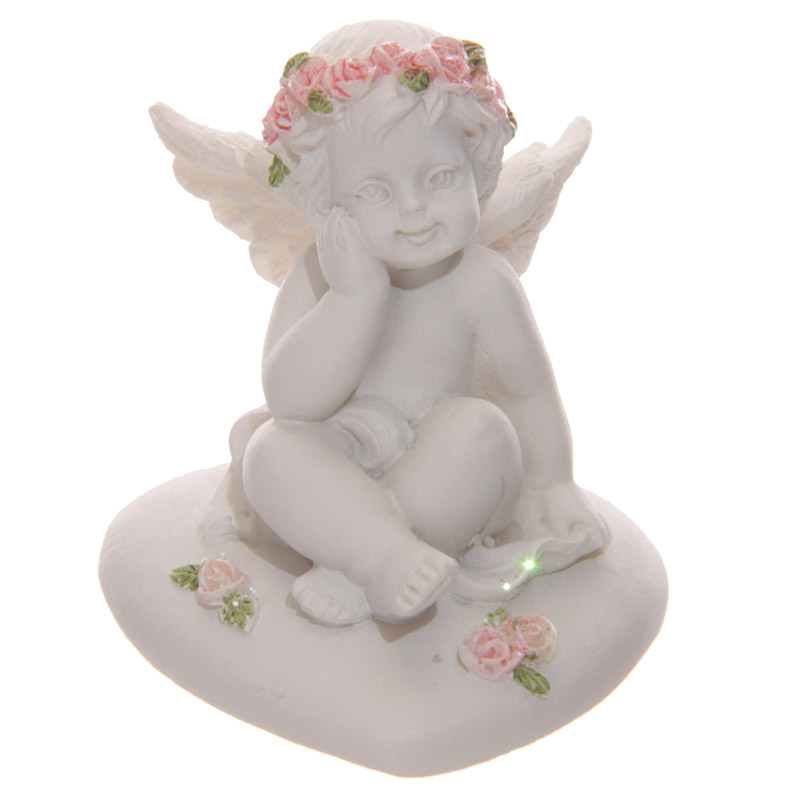 Collectable Cherub Sitting on Heart with Pink Roses