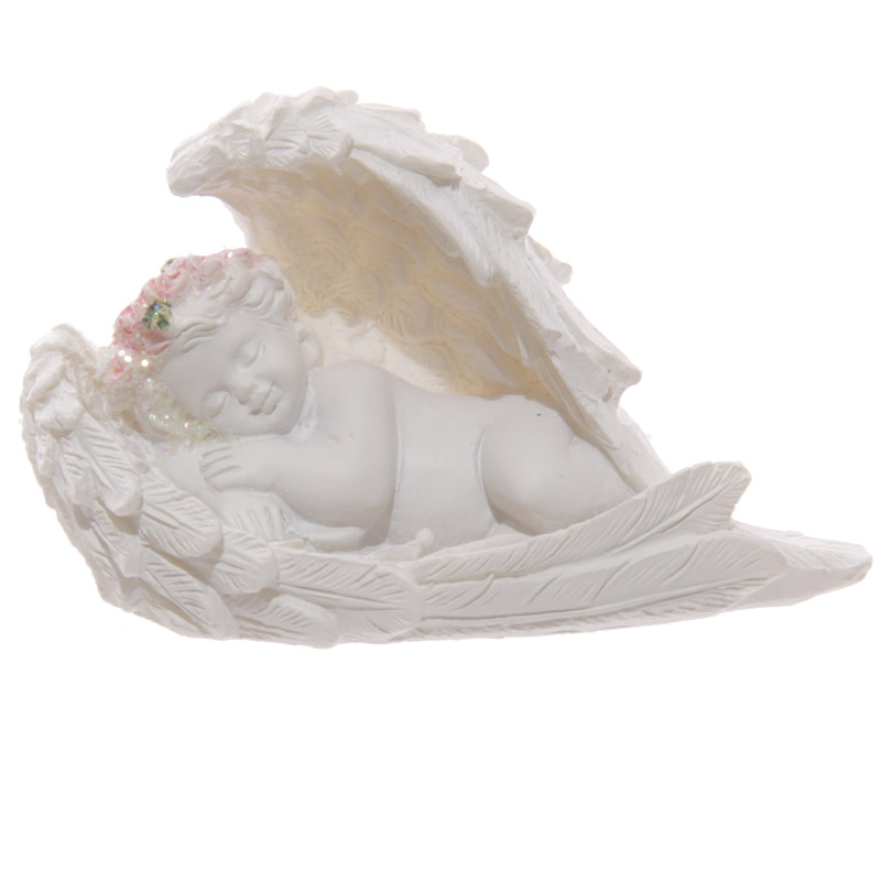 Decorative Rose Cherub Sleeping Figurine