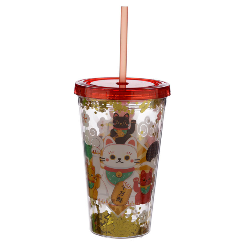 Lucky Cat Maneki Neko Double Walled Reusable Cup with Lid and Straw