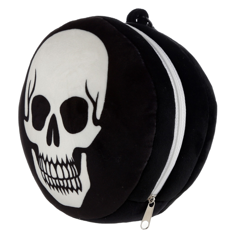 Lazy Bones Skull Relaxeazzz Plush Round Travel Pillow & Eye Mask Set