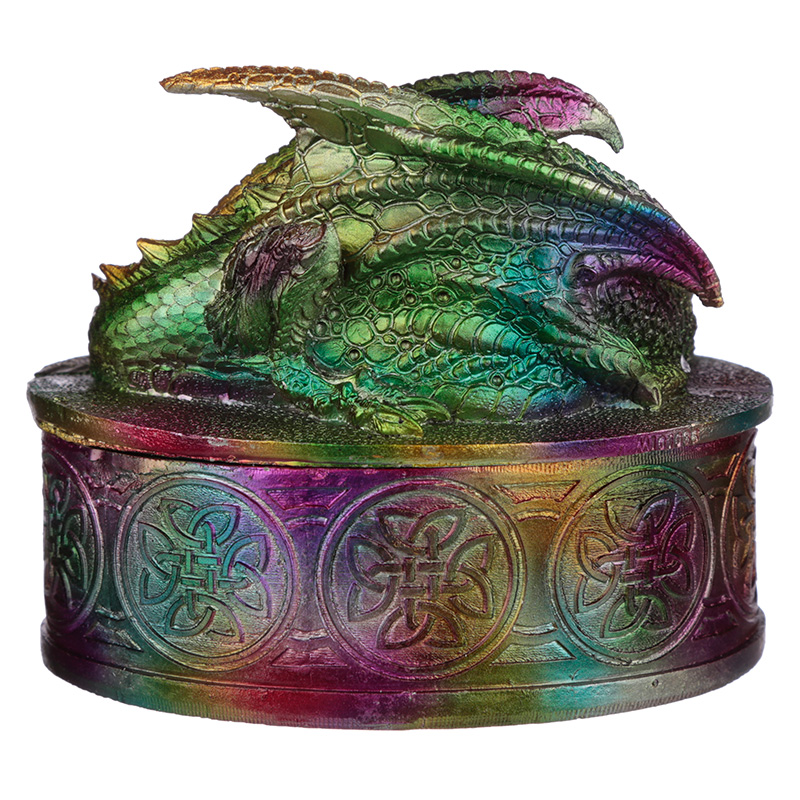Metallic Rainbow Dragon Trinket Box