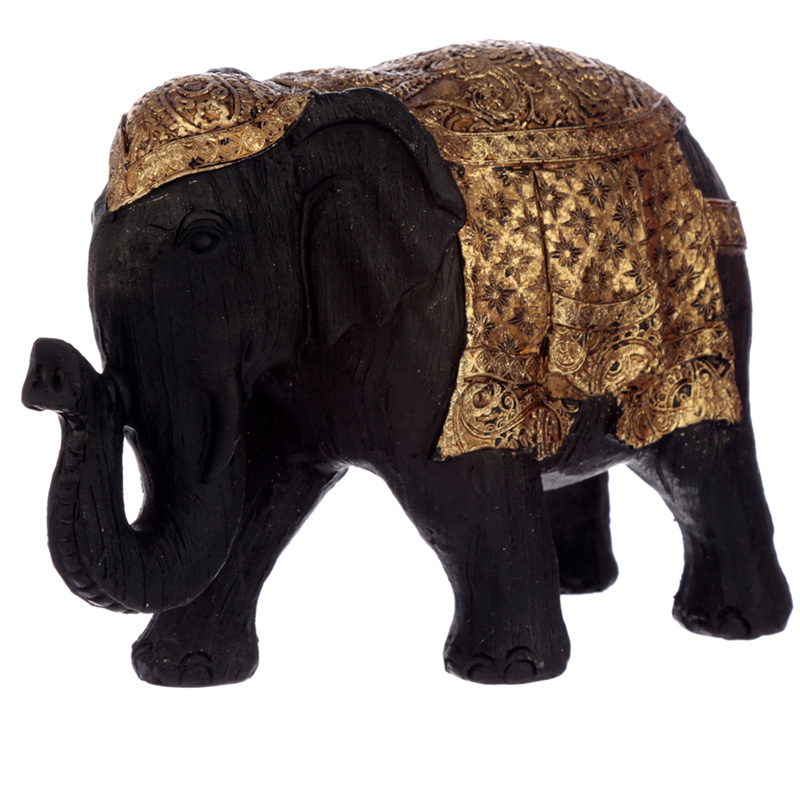 Decorative Thai Brushed Black and Gold Small Elephant
