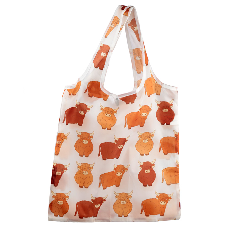 Handy Fold Up Highland Coo Cow Shopping Bag with Holder