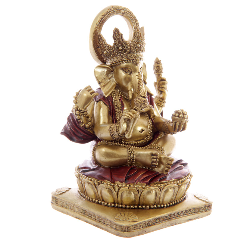 Decorative Gold and Red 14cm Ganesh Statue