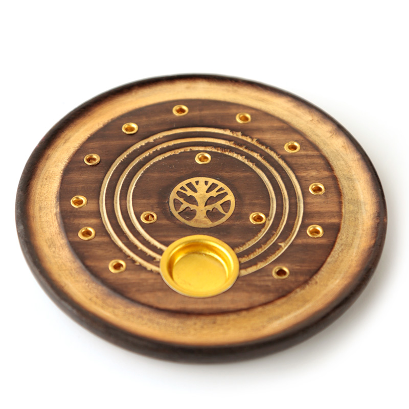 Decorative Round Tree of Life Wooden Incense Burner Ash Catcher