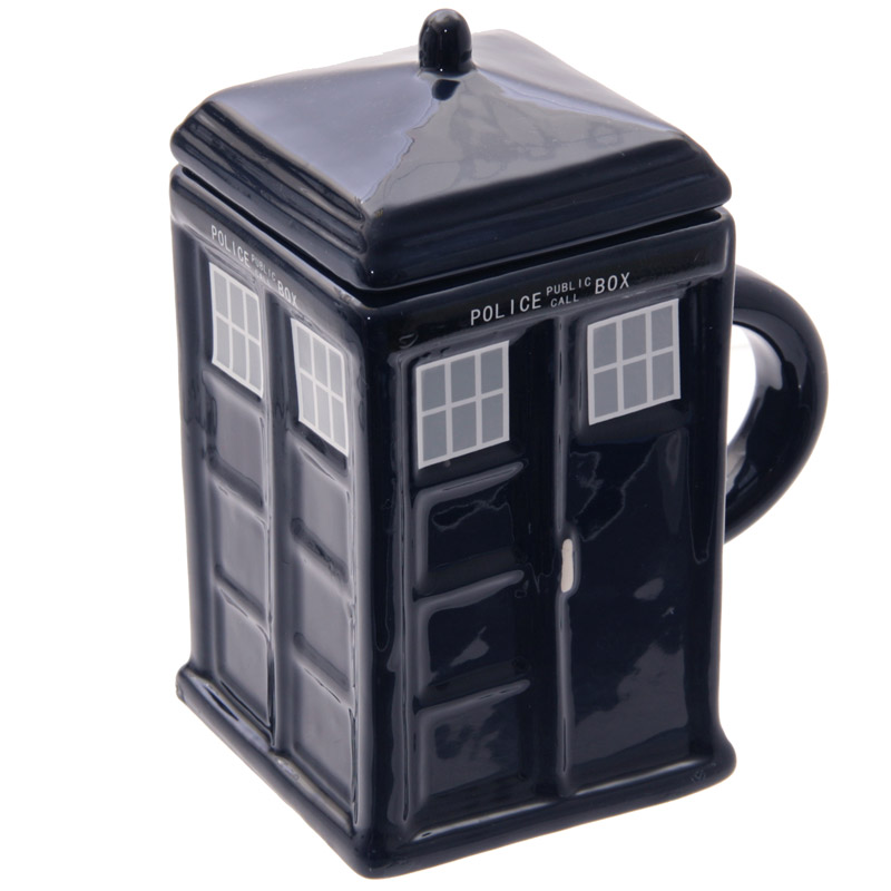 Novelty Ceramic Police Box Square Mug with Lid