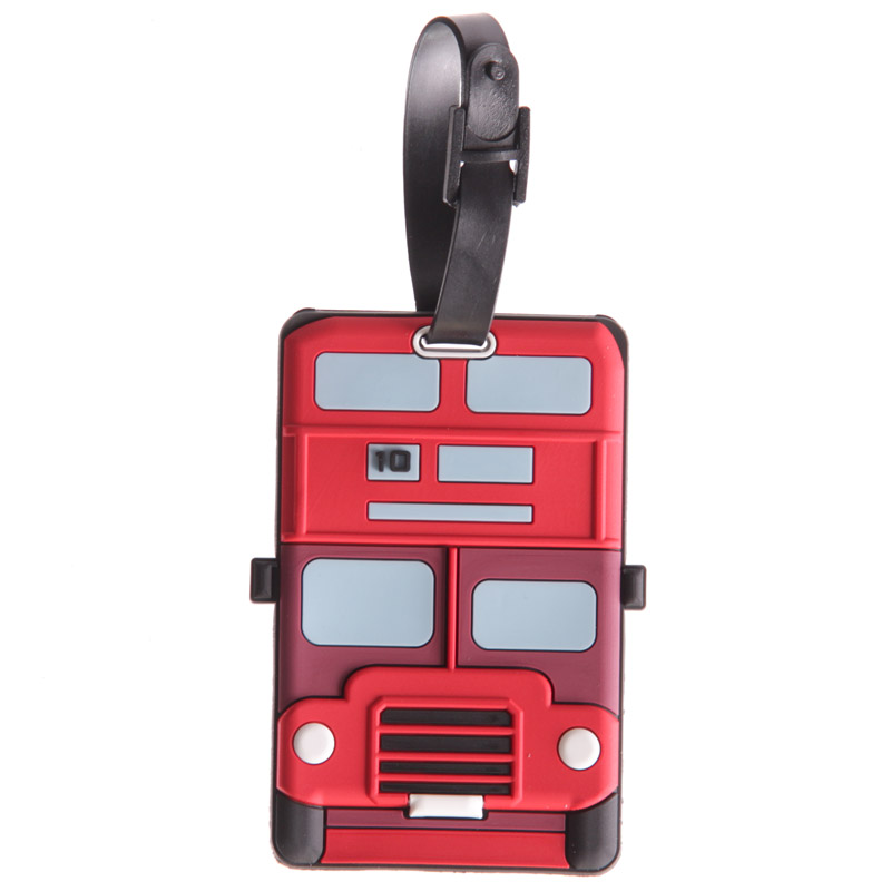 Fun Novelty London Bus Design PVC Luggage Tag