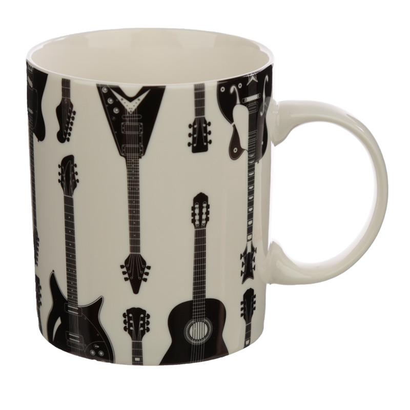 Porcelain Mug and Coaster Gift Set - Headstock Guitar