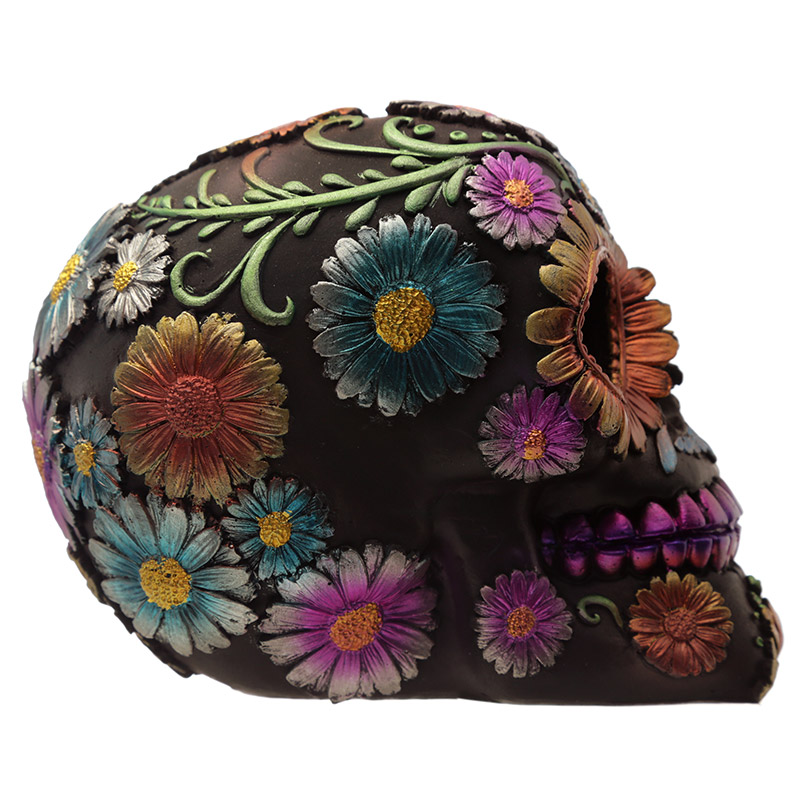 Gothic Metallic Day of the Dead Flower Skull Decoration