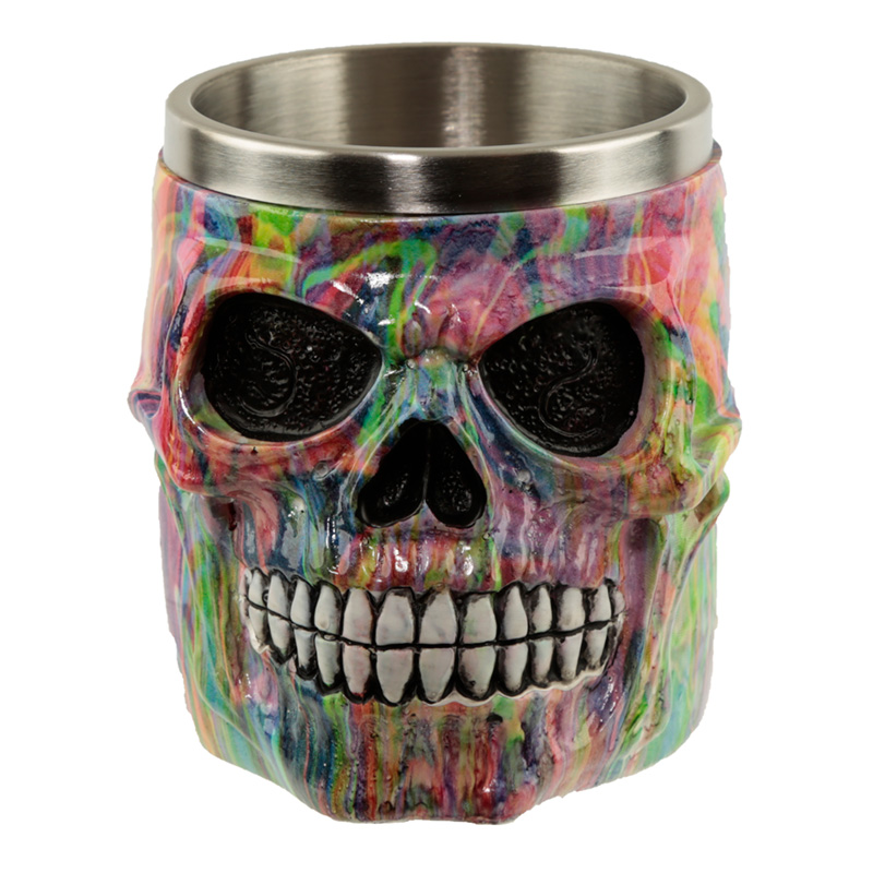 Collectable Decorative Rainbow Marble Effect Skull Tankard