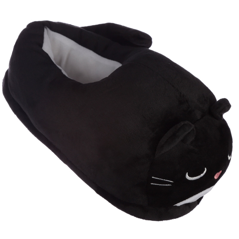 Plush Black Cat Pair of Unisex Slippers
