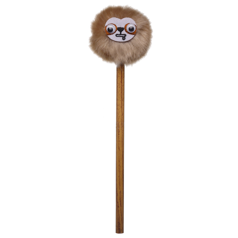 Cute Sloth Pencil with Fluffy Topper