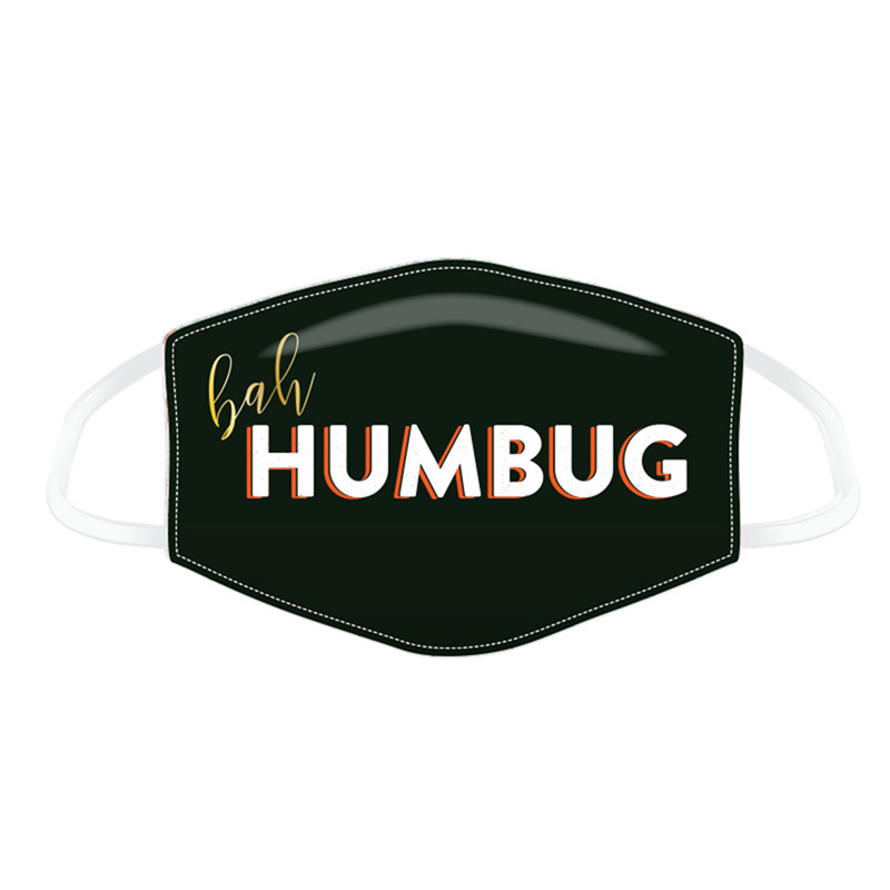 Bah Humbug Black Christmas Face Covering - Large