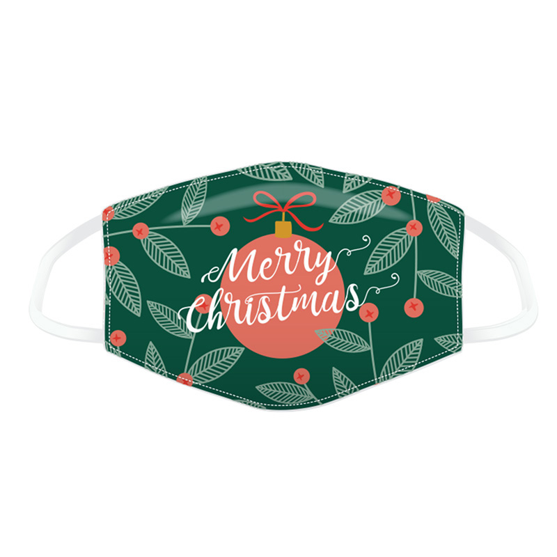 Merry Christmas Mistletoe Bauble Face Covering - Large