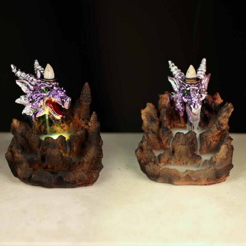 Fantasy LED Backflow Incense Burner Purple Dragon