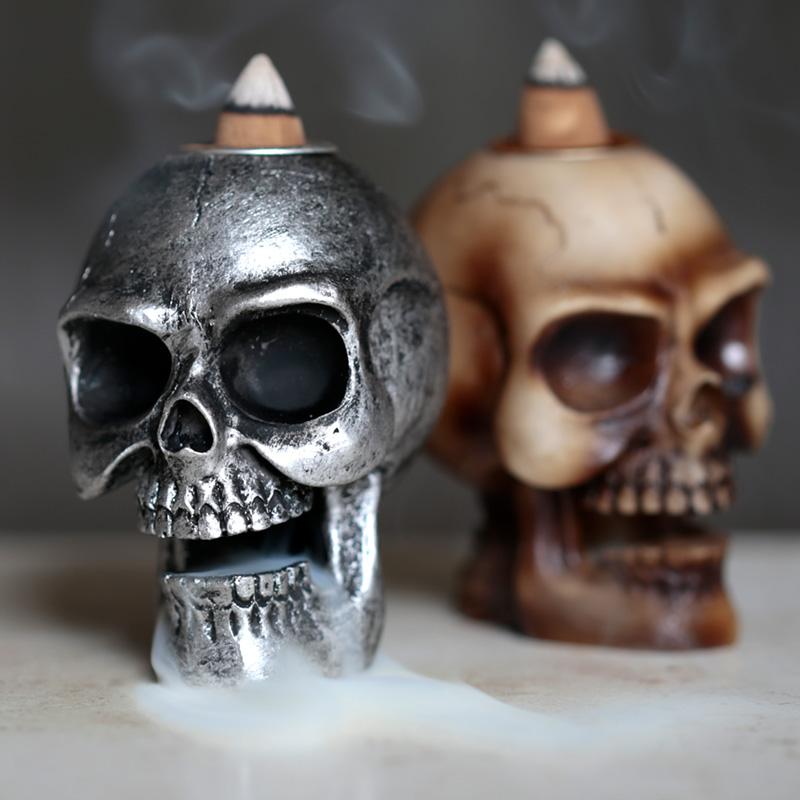 Small Backflow Incense Burner Skull