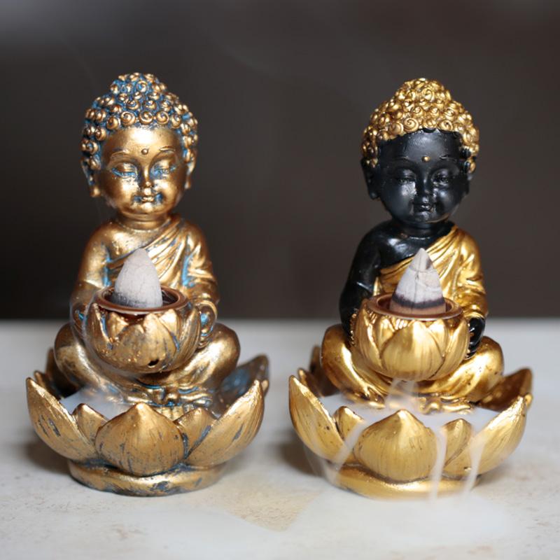 Small Backflow Incense Burner Lotus Buddha