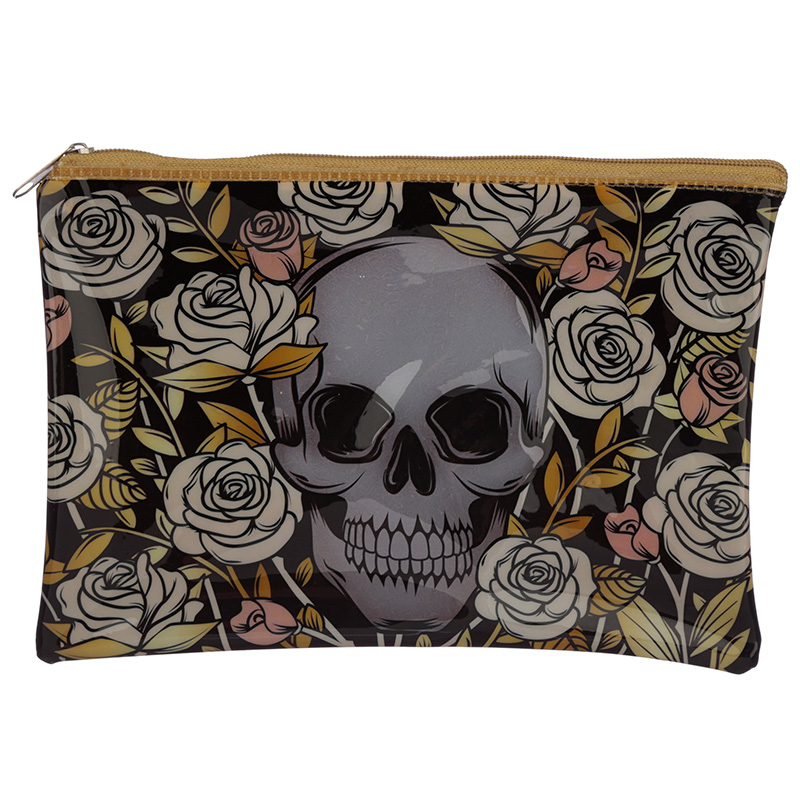 Handy Clear PVC Toiletry Makeup Bag Skulls and Roses Design