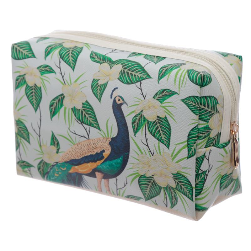 Handy PVC Make Up Toiletry Wash Bag Peacock