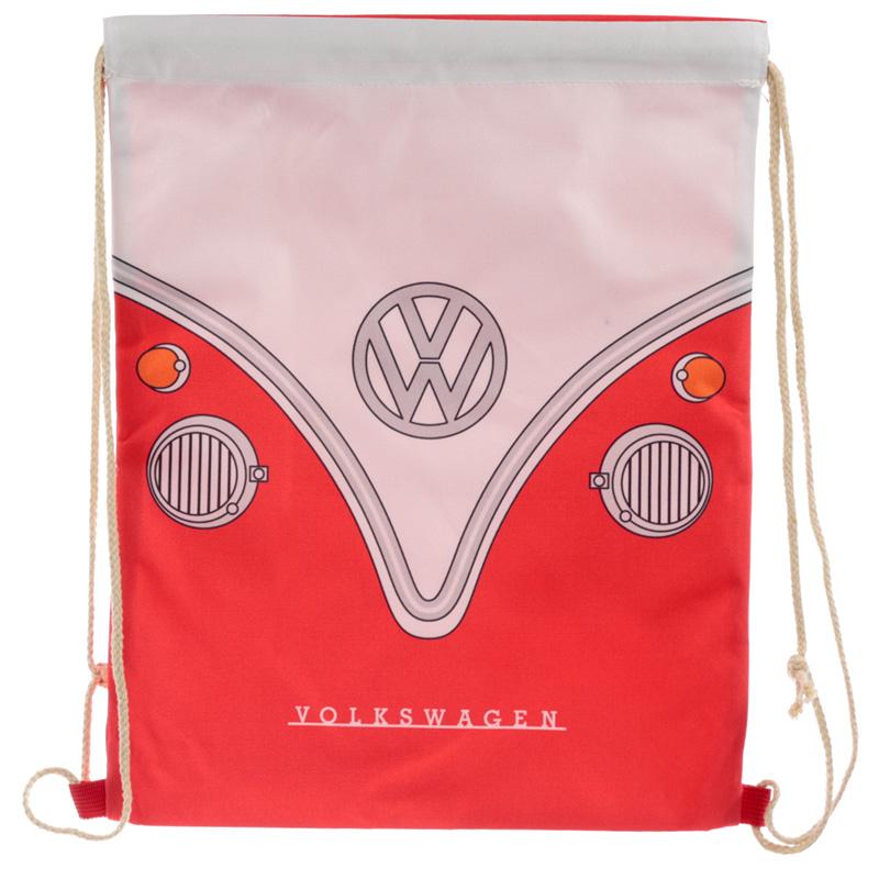 Handy Drawstring Bag Red Volkswagen VW T1 Camper Bus