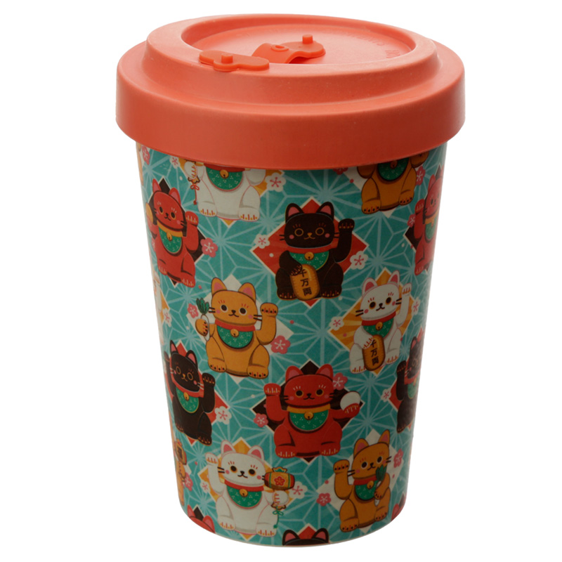 Bamboo Composite Lucky Cat Reusable Screw Top Travel Mug
