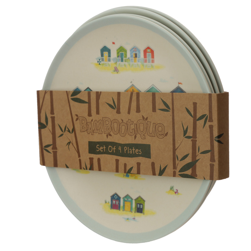 Bamboo Composite Beach Huts Reusable Plate Set of 4