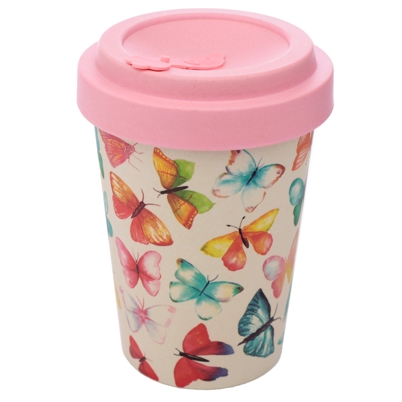 Bamboo Composite Butterfly House Screw Top Travel Mug