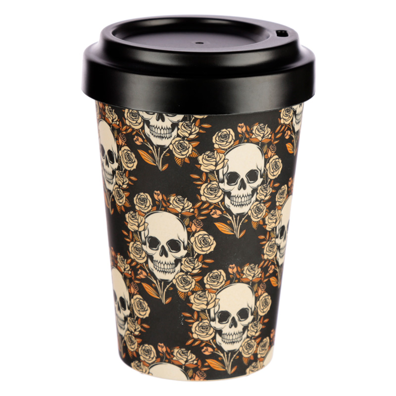 Bamboo Composite Skulls and Roses Travel Mug