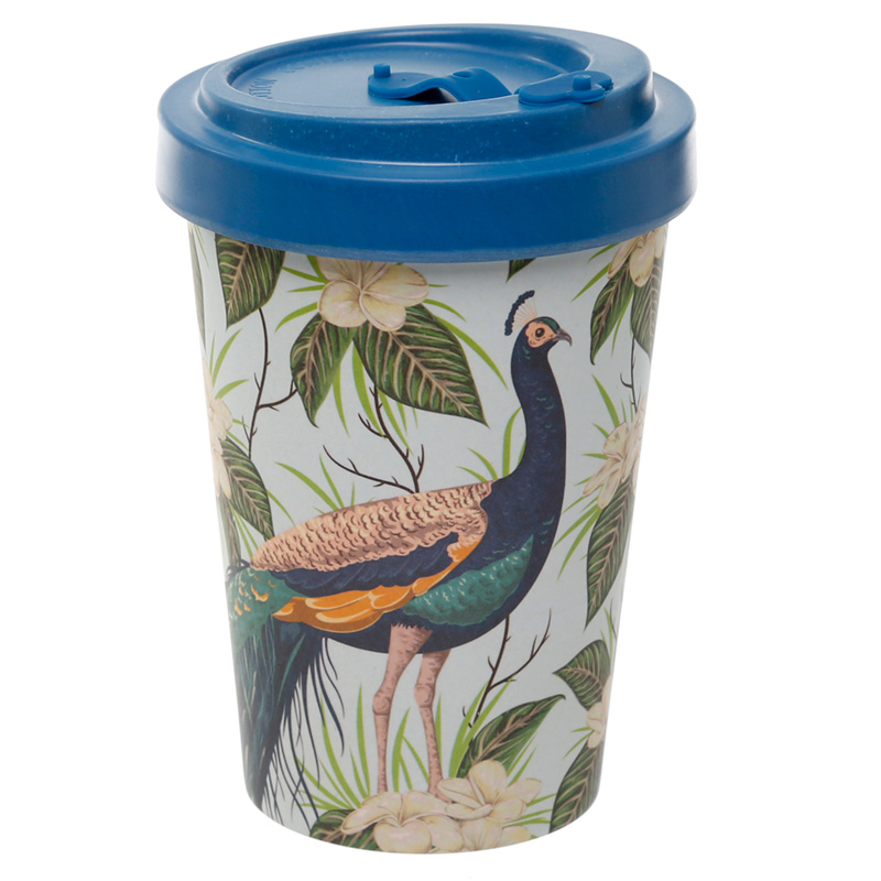 Bamboo Composite Peacock Screw Top Travel Mug