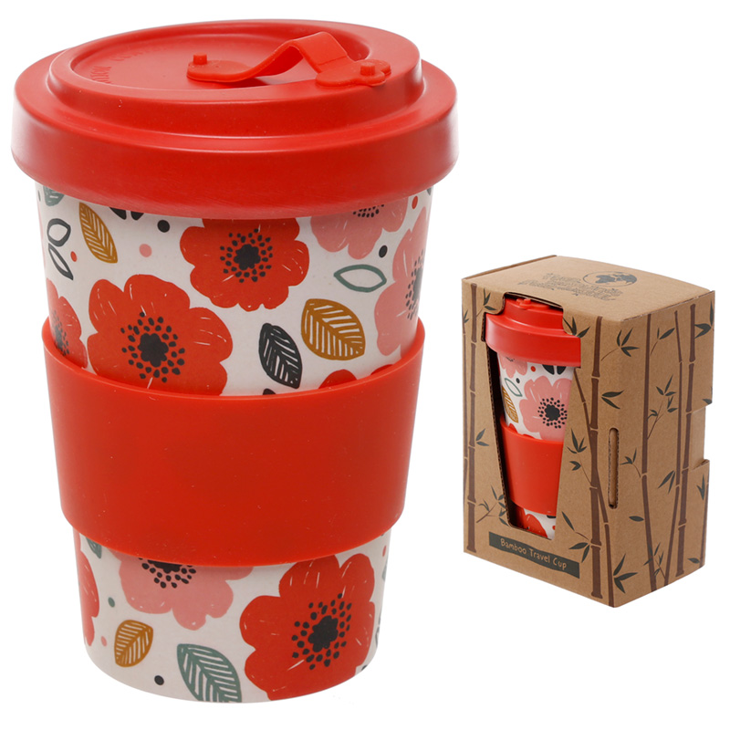 Bamboo Composite Poppy Fields Screw Top Travel Mug