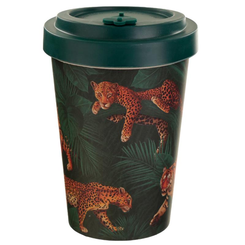 Bamboo Composite Big Cat Spots  Stripes Screw Top Travel Mug