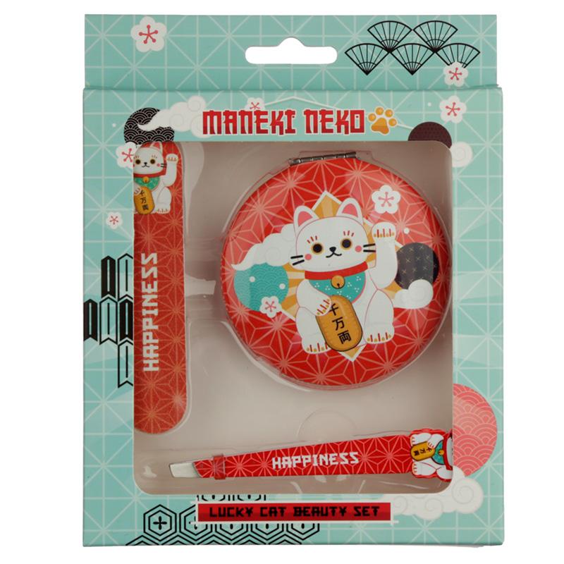 Lucky Cat Maneki Neko Beauty Set Compact Mirror Nail File  Tweezers