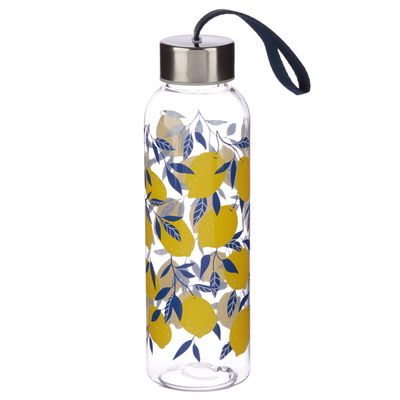 Fun Lemon Print Design 500ml Bottle with Metallic Lid