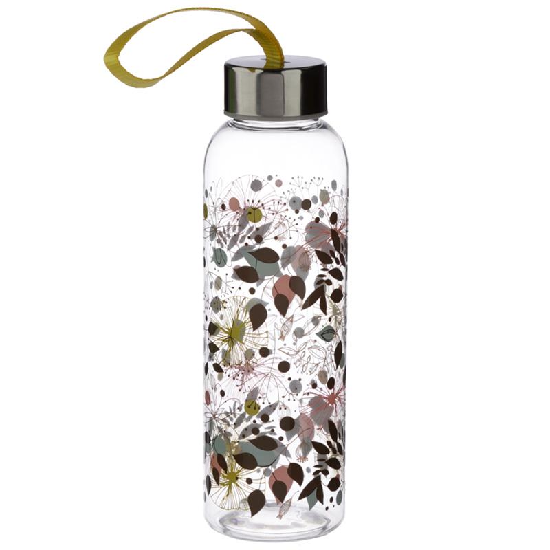Botanical Wisewood 500ml Reusable Water Bottle with Metallic Lid