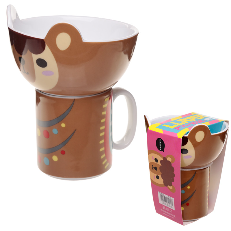 Childrens Porcelain Mug and Bowl Set Cute Llama