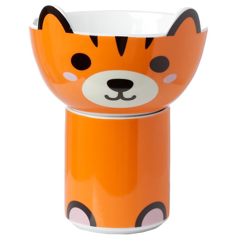 Childrens Porcelain Mug and Bowl Set Cute Tiger
