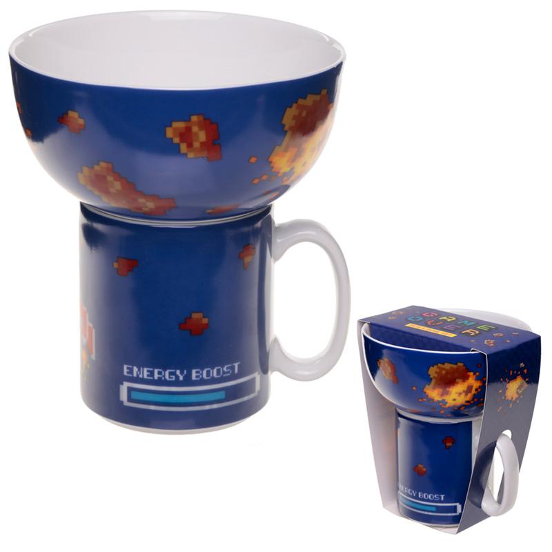 Childrens Porcelain Mug and Bowl Set Retro Gaming Design