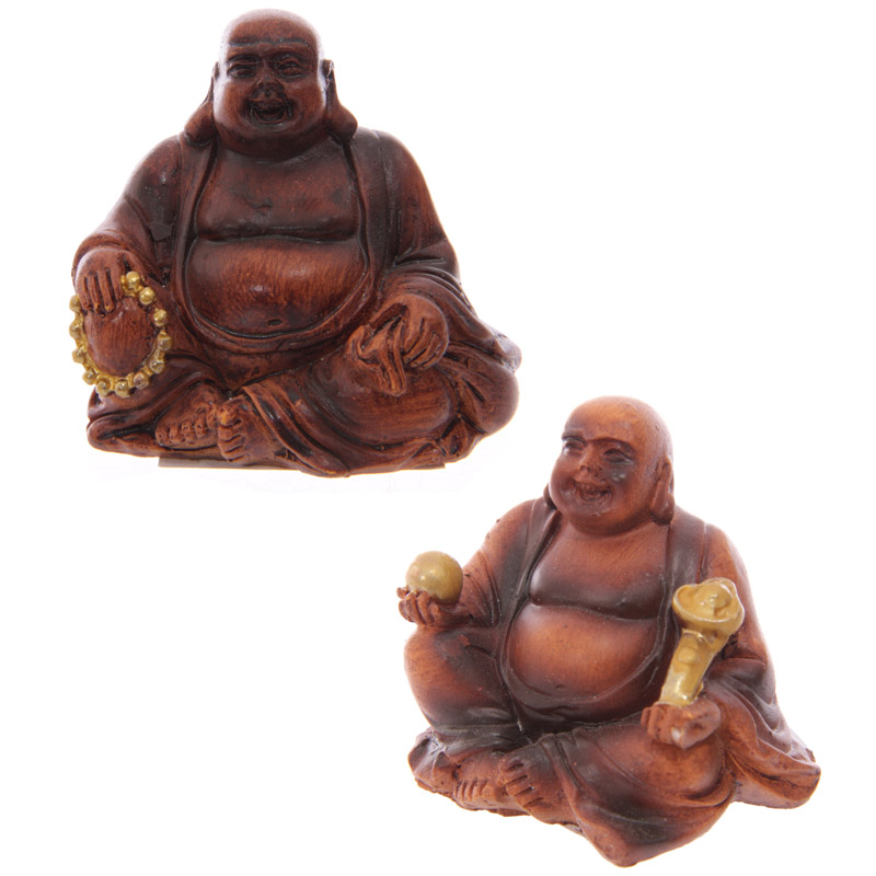 Mini Wood Effect Collectable Buddha in a Bag Figurine