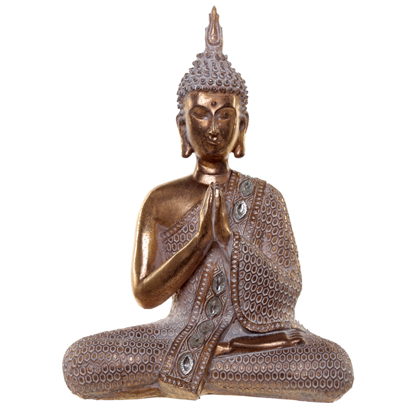 Thai Buddha Figurine Gold and White Lotus