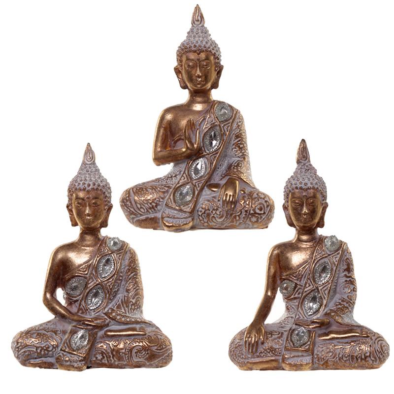 Thai Buddha Figurine Gold and White Meditation