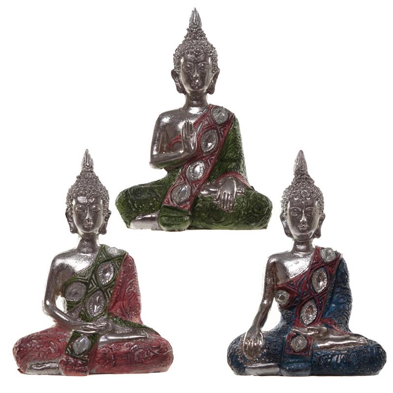 Thai Buddha Figurine Metallic Lotus