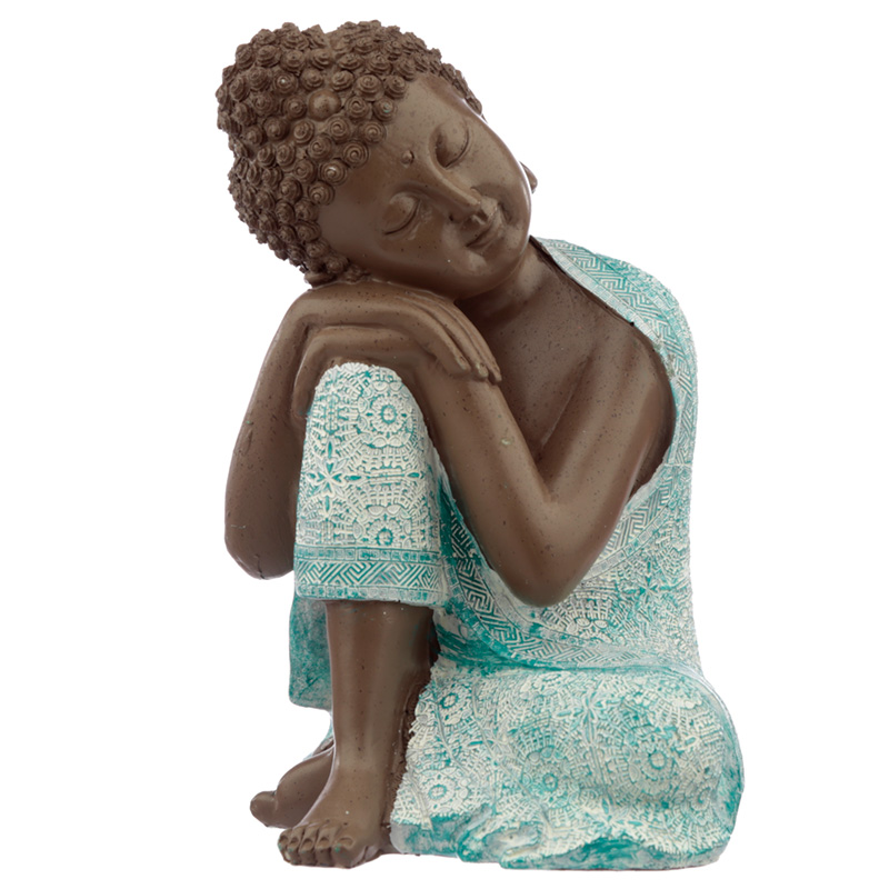 Decorative Turquoise  Brown Buddha Figurine Contemplation