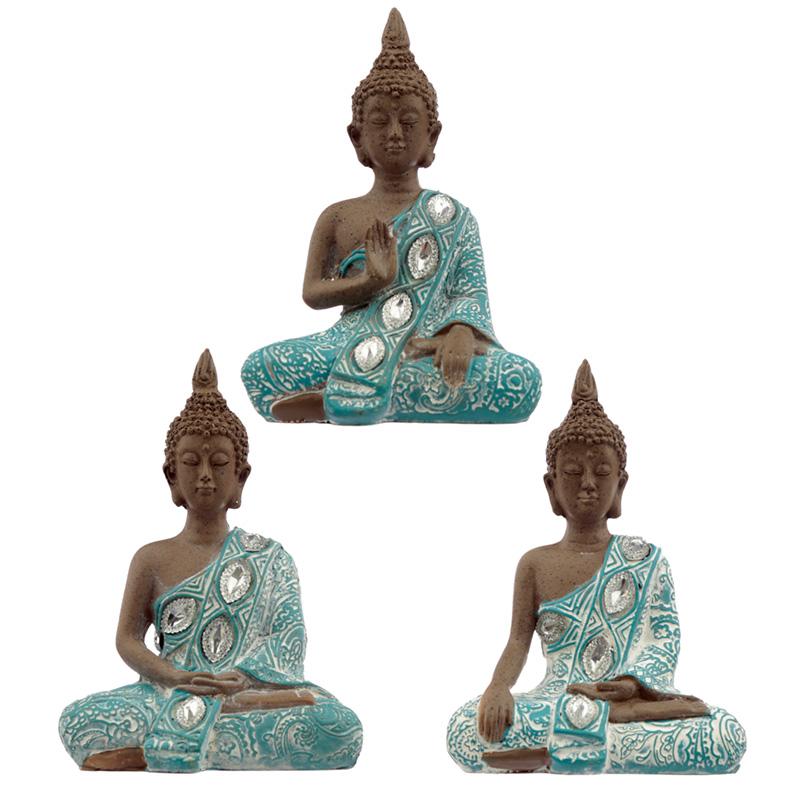 Decorative Turquoise  Brown Buddha Figurine Lotus