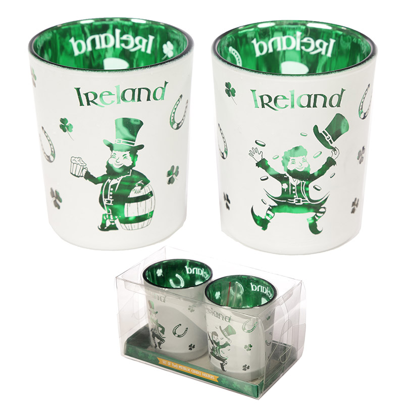 Glass Candleholder Set of 2 Ireland Lucky Leprechaun