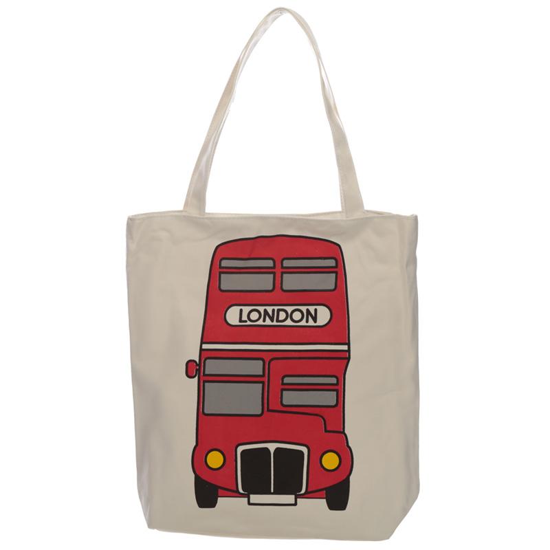 Handy Cotton Zip Up Shopping Bag London Bus