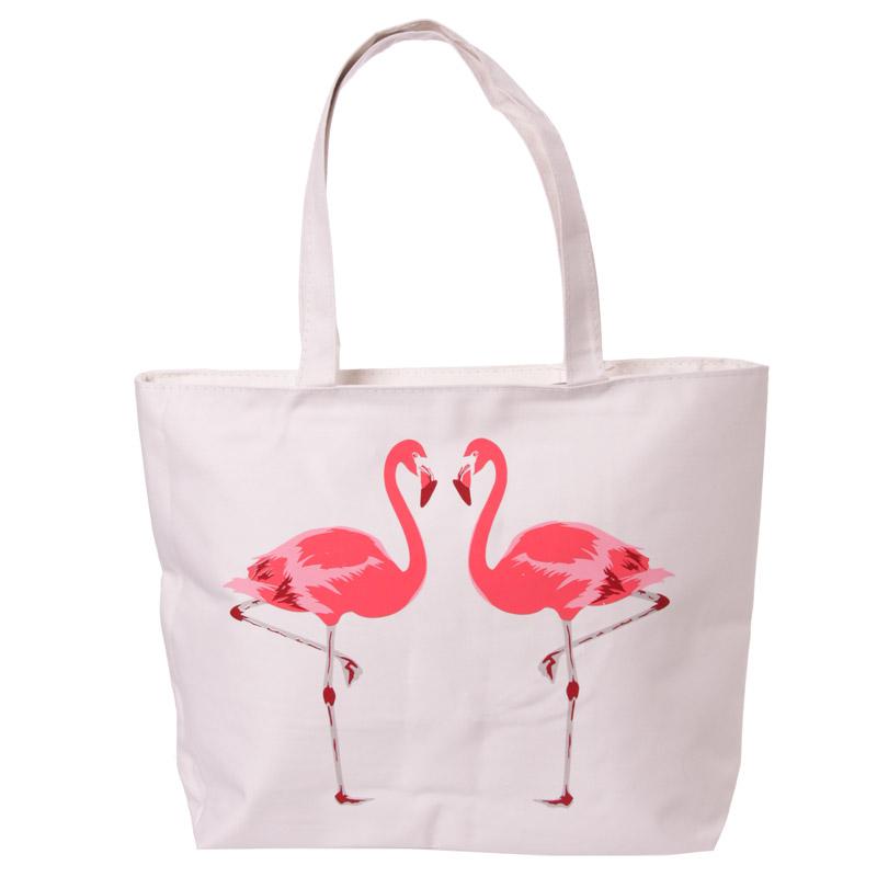Handy Cotton Zip Up Shopping Bag Funky Flamingo